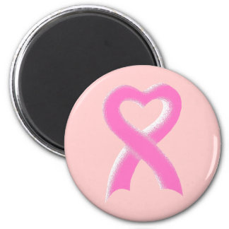 Pink Ribbon Heart 2 Inch Round Magnet