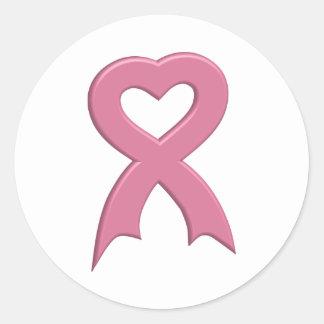 Pink-Ribbon-Heart-3D Sticker