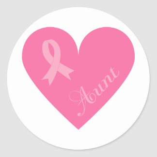 Pink Ribbon Heart Aunt Classic Round Sticker