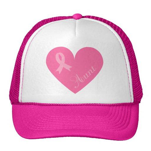Pink Ribbon Heart Aunt Mesh Hats