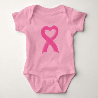 Pink Ribbon Heart Baby Bodysuit