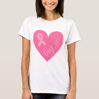 Pink Ribbon Heart Big Sis T-Shirt