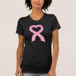 Pink Ribbon Heart Black T-Shirt T-Shirt