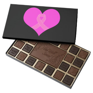 Pink Ribbon & Heart Breast Cancer Charity Design Assorted Chocolates