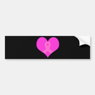 Pink Ribbon & Heart Breast Cancer Charity Design Bumper Sticker