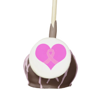 Pink Ribbon & Heart Breast Cancer Charity Design Cake Pops
