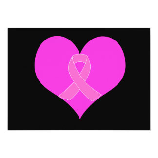 Pink Ribbon & Heart Breast Cancer Charity Design Card