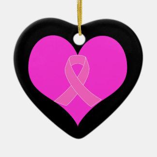 Pink Ribbon & Heart Breast Cancer Charity Design Ceramic Ornament