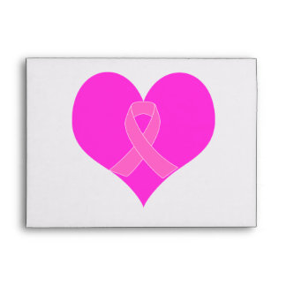 Pink Ribbon & Heart Breast Cancer Charity Design Envelope