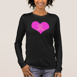 Pink Ribbon & Heart Breast Cancer Charity Design Long Sleeve T-Shirt