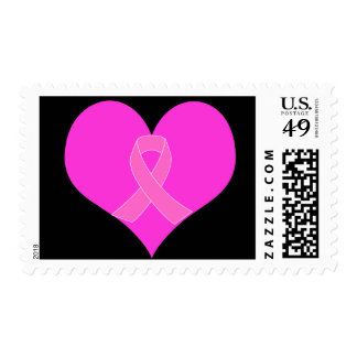 Pink Ribbon & Heart Breast Cancer Charity Design Postage Stamp