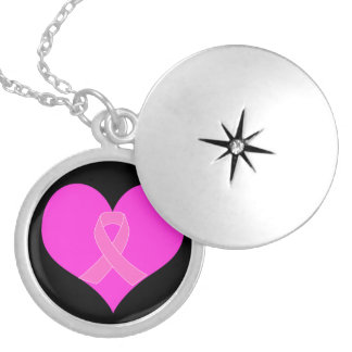 Pink Ribbon & Heart Breast Cancer Charity Design Silver Plated Necklace