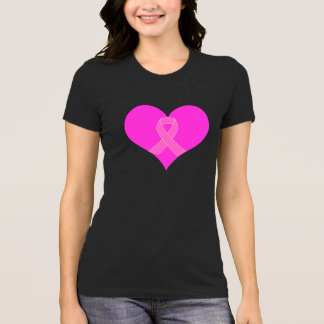 Pink Ribbon & Heart Breast Cancer Charity Design T-Shirt
