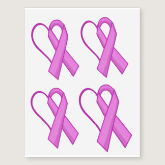 Pink Ribbon Heart Breast Cancer Temporary Tattoo 4