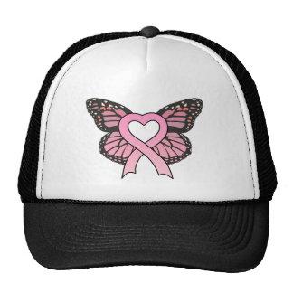 Pink Ribbon Heart Butterfly Hat