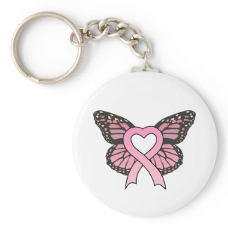 Pink Ribbon Heart Butterfly Keychain keychain