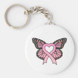 Pink Ribbon Heart Butterfly Keychain