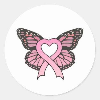 Pink Ribbon Heart Butterfly Sticker
