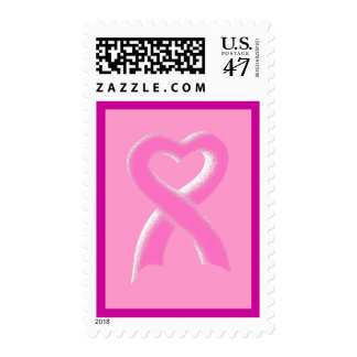 Pink Ribbon Heart Postage