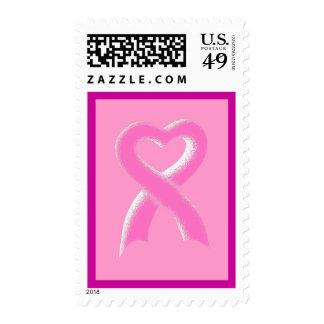 Pink Ribbon Heart Postage