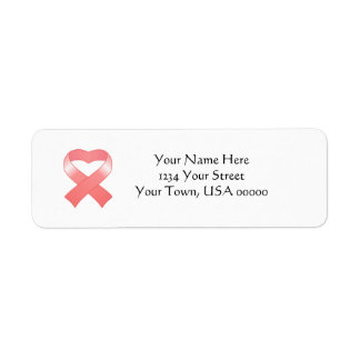 Pink Ribbon Heart Return Address Labels