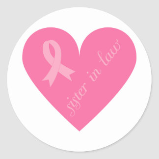 Pink Ribbon Heart Sister in Law Round Stickers