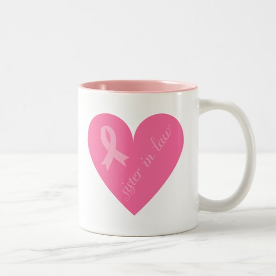 Pink Ribbon Heart Sister in Law Two-Tone Coffee Mug