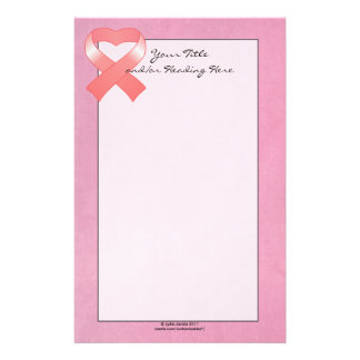 Pink Ribbon Heart Stationery