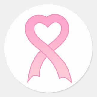 Pink Ribbon Heart Sticker