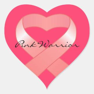 Pink Ribbon Heart Stickers
