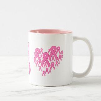 Pink Ribbon Heart Two-Tone Coffee Mug