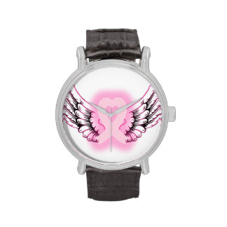 Pink Ribbon Heart Wings Watch/black