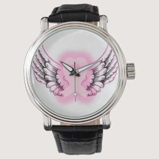 Pink Ribbon Heart Wings Watch/black Watch