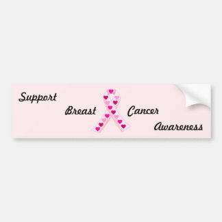 Pink Ribbon Hearts Bumper Stickers