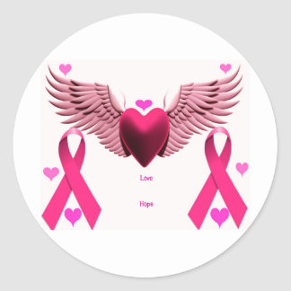 Pink Ribbon Hearts Classic Round Sticker
