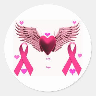 Pink Ribbon Hearts Classic Round Sticker