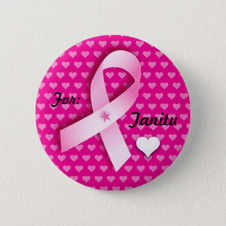 Pink Ribbon & Hearts Customize Text Round Button