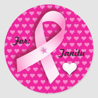 Pink Ribbon & Hearts Customize Text Stickers