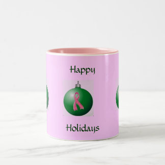 Pink Ribbon Holiday Mug