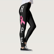 PINK RIBBON HOPE BLACK LEGGINS by OASOTA Leggings