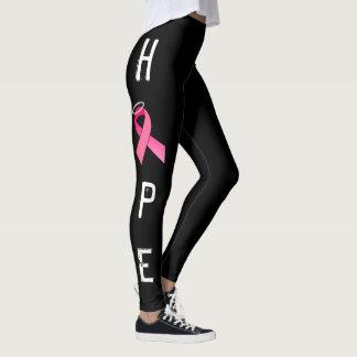 PINK RIBBON HOPE BLACK LEGGINS by OASOTA Leggings