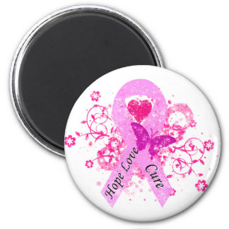 Pink Ribbon Hope Love Cure 2 Inch Round Magnet