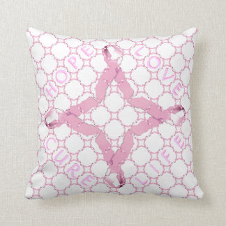Pink Ribbon HOPE LOVE CURE LIFE Throw Pillow