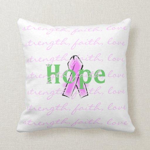 Pink Ribbon Hope Throw Pillow