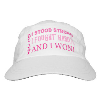 Pink Ribbon I Stood Strong Breast Cancer Survivor Headsweats Hat