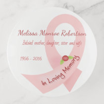 Pink Ribbon In Memory Of Personalized Trinket Trays