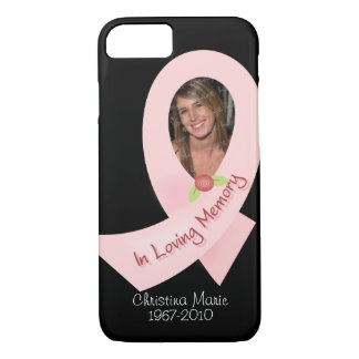 Pink Ribbon In Memory Of Photo Template iPhone 7 Case