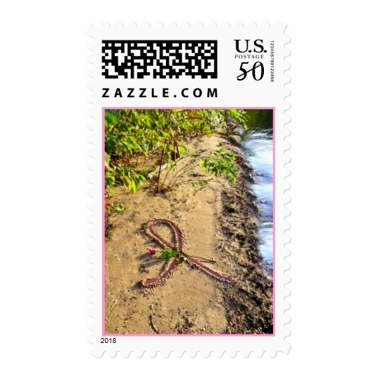 Pink Ribbon in Sand-Postage Stamp By the Becks