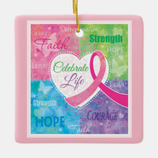 Pink Ribbon Inspirational Ceramic Ornament