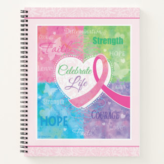 Pink Ribbon Inspirational Notebook